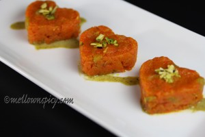 gajar ka halwa with pistachio coulis