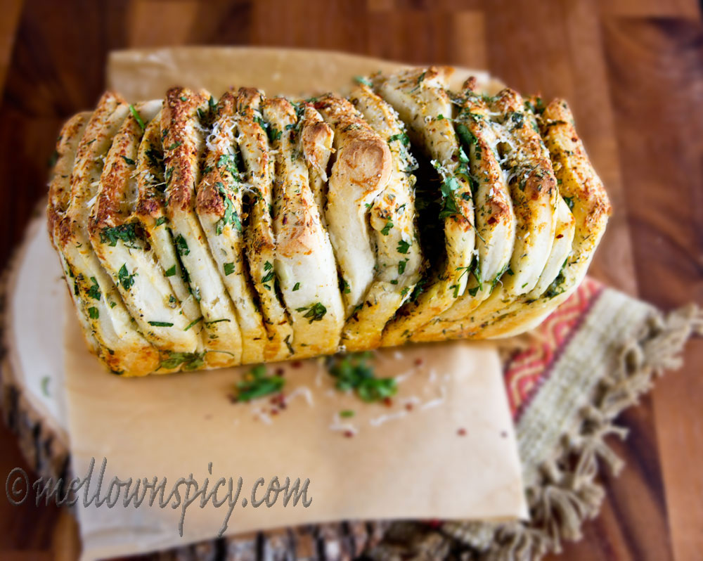 Herb-Butter and Cheese Pull-Apart Bread |Yeast Bread|