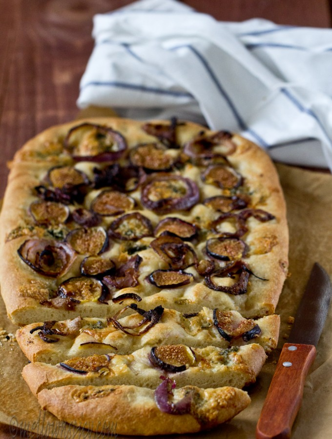 Fig, Onion and Feta Focaccia |Yeast Bread|