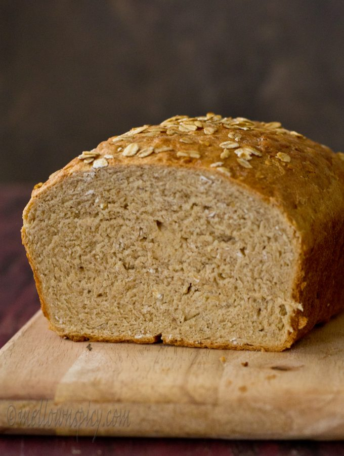 Honey and Oats Sandwich Bread |Yeast Bread|