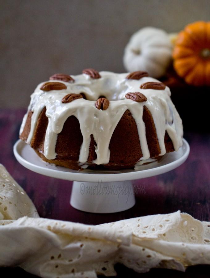 Pumpkin Spiced Bundt Cake with Maple Cream Cheese Glaze |Baking|