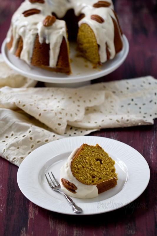 Pumpkin Spiced Bundt Cake with Maple Cream Cheese Glaze