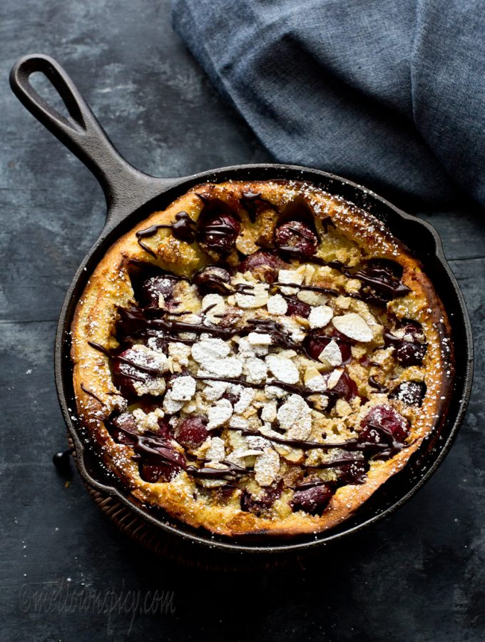 Cherry and Almond Dutch Baby Pancake |Baking|