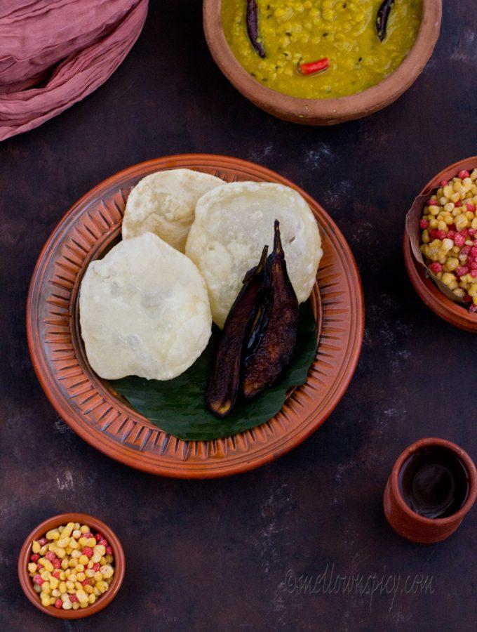 Luchi, Begun Bhaja and Hing Diye Cholar Dal |Cooking|